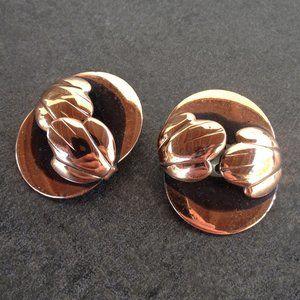 Vintage 60's Modernist Copper Disk Earrings